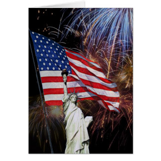 American Flag, Fireworks and Statue of Liberty Greeting Card