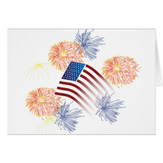 American Flag Fireworks Greeting Cards