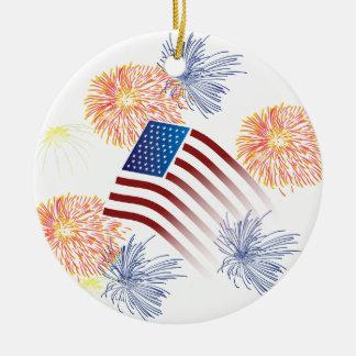 American Flag Fireworks Ceramic Ornament