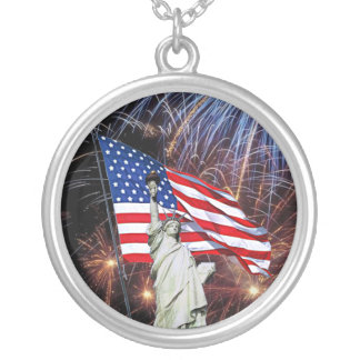 American Flag Fireworks & Statue of Liberty Design Personalized Necklace