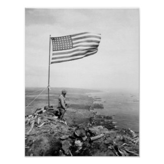 American Flag Flying Over Mount Suribachi - WWII Poster