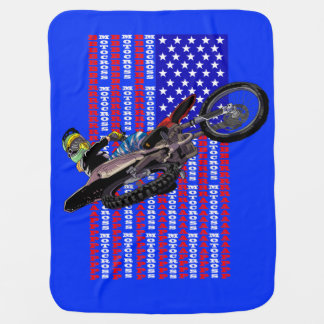American flag freestyle motocross baby blanket