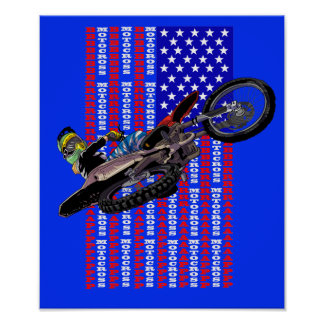 American flag freestyle motocross poster