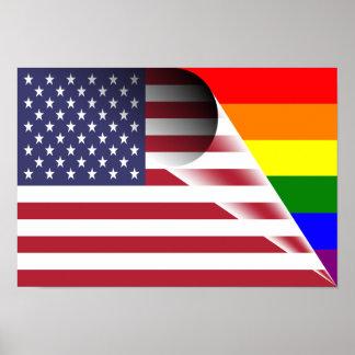 American Flag Gay Pride Rainbow Flag Poster