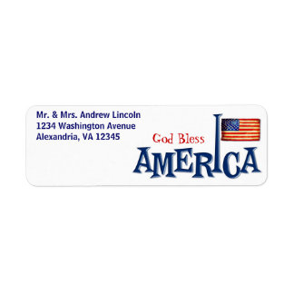 American Flag God Bless America Address Labels