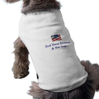 American Flag God bless America the dogs Pet T-shirt