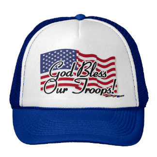 American Flag - God Bless Our Troops! Mesh Hat