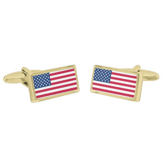 American Flag Gold Finish Cuff Links