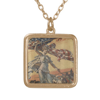 American Flag Gold Plated Necklace