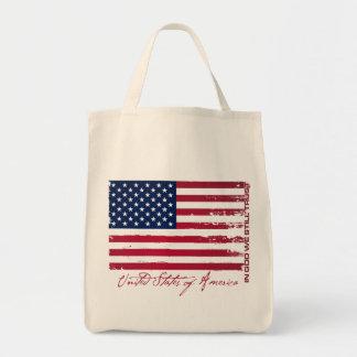 American Flag Grocery Tote Bag