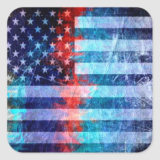 American Flag Grunge Art #6 Square Sticker