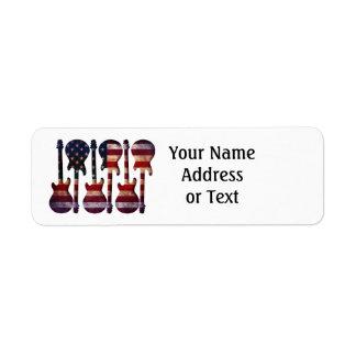 American Flag Guitar Art Return Address Label