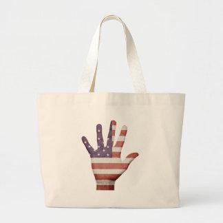 American Flag Hand Jumbo Tote Bag