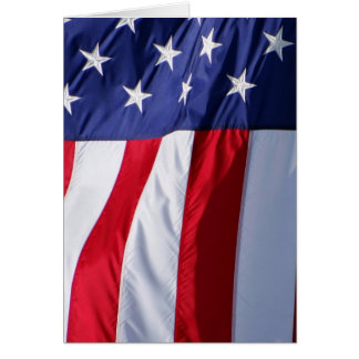 American flag hanging down red white blue card