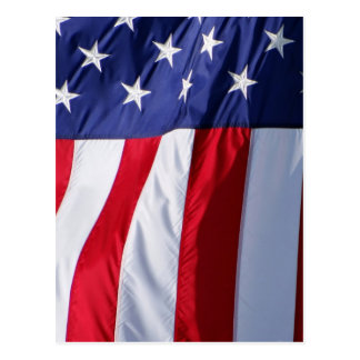 American flag hanging down red white blue postcard