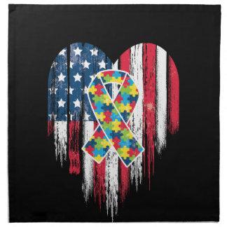 American Flag Heart Autism Awareness Napkin