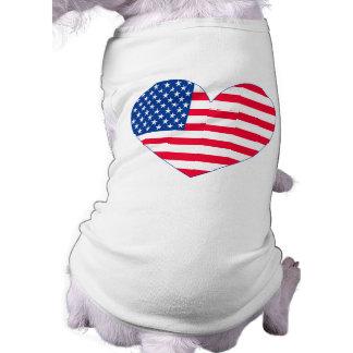 American Flag Heart Doggie Tee