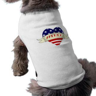 American Flag Heart Dog Tank Top Sleeveless Dog Shirt