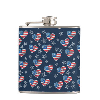 American Flag Heart Hip Flask