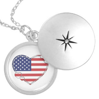 American Flag Heart Round Locket Necklace