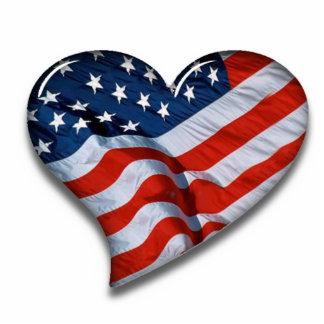 American Flag Heart Standing Photo Sculpture