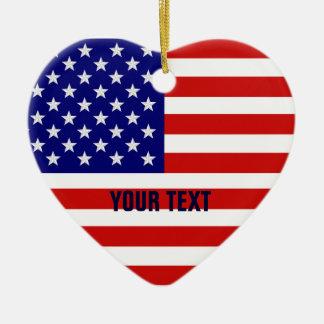 American Flag Heart Shape Christmas Ornament