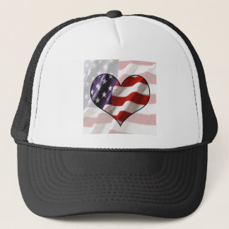 American Flag Heart Trucker Hat