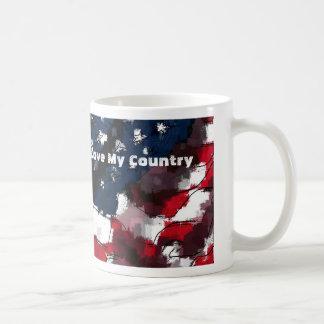American Flag, I Love My Country Basic White Mug