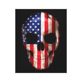 American Flag Imprinted Skull Canvas Print