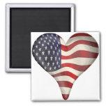 American Flag In A Heart Fridge Magnet