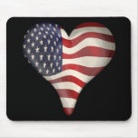 American Flag In A Heart Mouse Pad