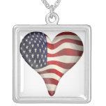 American Flag In A Heart Pendants