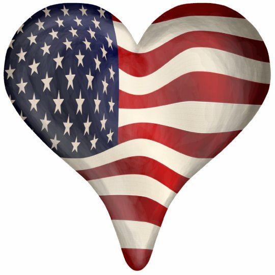 American Flag In A Heart Standing Photo Sculpture