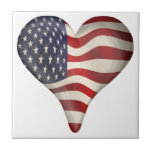 American Flag In A Heart Tiles