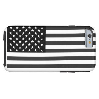 American Flag In Black And White Tough iPhone 6 Case
