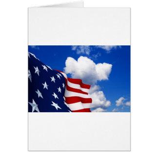 American Flag in blue skies Greeting Card