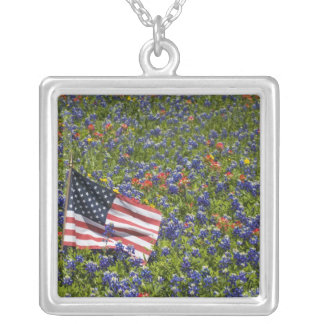 American Flag in field of Blue Bonnets, 2 Square Pendant Necklace