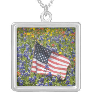 American Flag in field of Blue Bonnets, Square Pendant Necklace