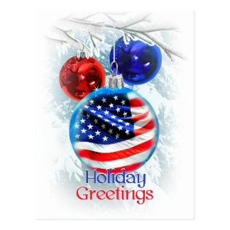 American Flag in Patriotic Christmas Ornament Postcard