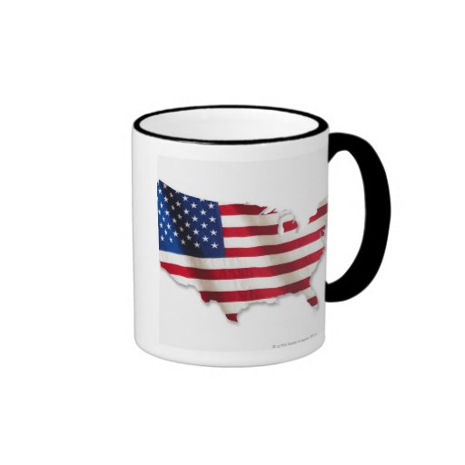 American flag in shape of United States Coffee Mugs