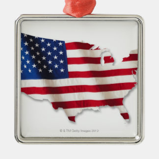 American flag in shape of United States Silver-Colored Square Decoration