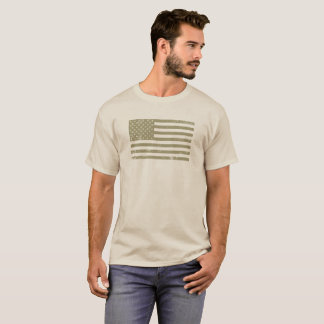 American Flag in Tan T-Shirt