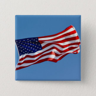 American Flag in the Wind 15 Cm Square Badge