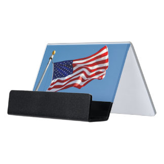 American Flag in the Wind Desk Business Card Holder