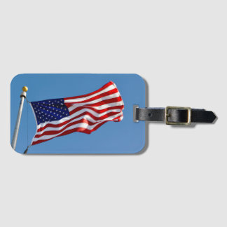 American Flag in the Wind Luggage Tag