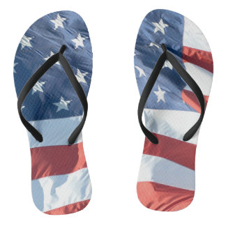 American Flag in the Wind Non-Identical Thongs