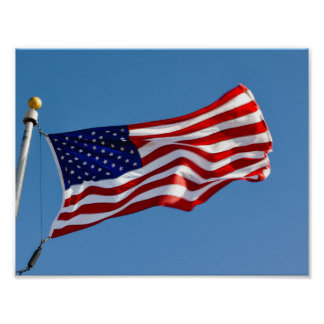 American Flag in the Wind Poster
