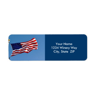 American Flag in the Wind Return Address Label