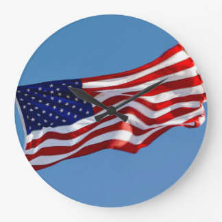 American Flag in the Wind Wallclock
