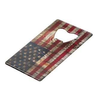 American Flag in wooden bord